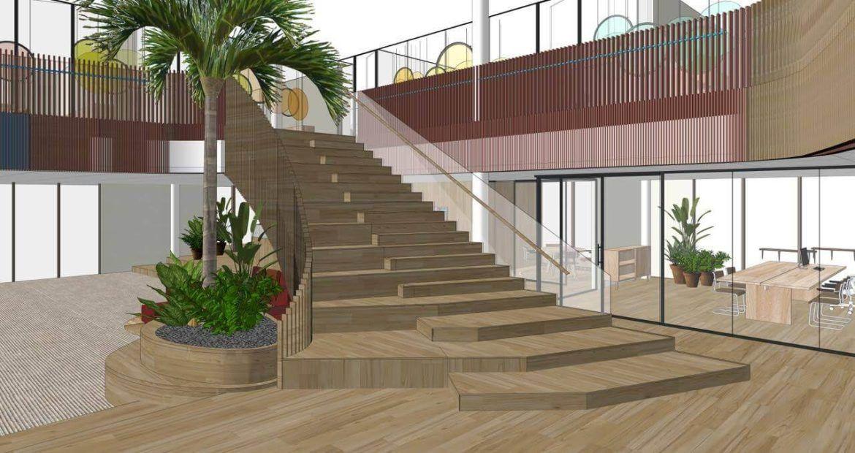 eosta ontwerp BG vooraanzicht trap iepenhout